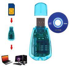 USB Clé Lecteur de Carte Téléphone Standard SIM Card Reader GSM SMS Pr PC Laptop