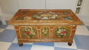 Beautiful Vintage Painted with Roses Pine Storage Chest with Candle Box
