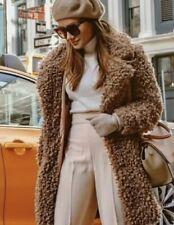ZARA : Soft Faux Fur Camel Coat Uk Size XS Teddy