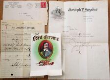 Cover/Letterhead/Cigar Label/Billhead 1913 Joseph Snyder/Lord Jerome-Buffalo, NY