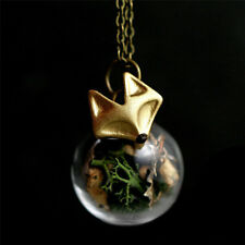 Handmade Forest Fox Pendant Glass ball real moss tree bark Necklace Jewelry