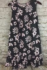 Anthony Richards House Dress Cotton Blend Gray Pink Floral Sleeveless Pockets