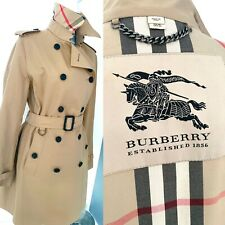 WORN ONCE BURBERRY HONEY COTTON MID LENGTH TRENCH COAT JACKET CHECK SIZE 16