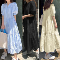 UK Womens Puff Sleeve Sundress Casual Loose Tiered Flare Swing A Line Long Dress