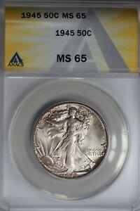 1945  .50   ANACS   MS 65   Walking Liberty, Half Dollar, Lady Liberty Half