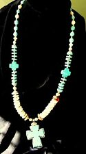 Wire-wrapped Turquoise Cross Necklace w/Blue and White Turquoise Heishi, Spiny O