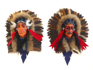 Native American Indian Head Wall Art Resin Face Plaque Mask Hand Painted With Re