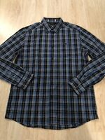 Kenneth Cole Blue Black Grey Plaid Style Button Down Mens Size Med Casual