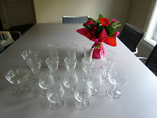 Vintage 70s :  Set of 17 Clear Cut Glasses Pinwhell Pattern Glassware from Sears