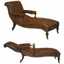 FULLY RESTORED RECLINER CHAISE LOUNGE CIR 1860 VICTORIAN BROWN LEATHER ARMCHAIR