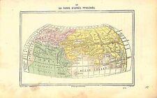 World map Mappemonde Terre Earth Ptolémée Ptolemy GRAVURE ANTIQUE PRINT 1874