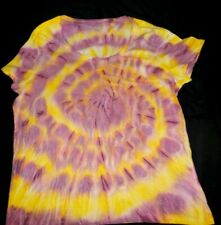 """Womens cotton Tie dye T-shirt """"Maroon Yellow spiral"""", size Large, new"""