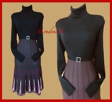 KAREN MILLEN Black Brown Polo Neck Knitted Casual Occasion Dress size 2  UK10/12