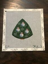 New ListingRebecca Wood Hand Painted Snowman Tree Needlepoint Canvas Ornament 18 count