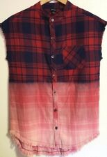 Art Class Boys Size Small Sleeveless Plaid Shirt With Raw Edges Red Blue Flannel