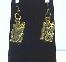 Handcrafted Bronze Maneki Neko Cat Kitty Good Fortune Earrings by Rockmight