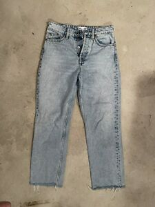 Zara Jeans Light Wash Button Front High Waist Raw Hem Denim Womens Size 4