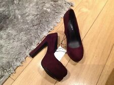 H&M Plum Burgundy Faux Suede High Platform High Heels Court Shoes Bnwt Size 4 37