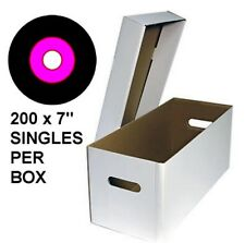 "Qty 5 Cardboard Record Storage Boxes for 7"" vinyl, 200 per box, CHEAPEST ON EBAY"