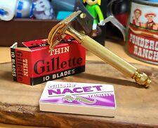 1946-50 Gillette Tech gold ball end vintage safety razor Thin blades 5 Nacet