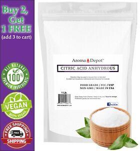 1 lb Pure Citric Acid Powder Food Grade FCC/USP - ANHYDROUS - Grade A  Pouch