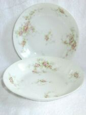 "2 THEODORE HAVILAND LIMOGES SCHLEIGER 149 COUPE SOUP BOWLS 7 1/2"" PINK ROSES"