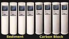 "BLUONICS Big Blue CTO Carbon Block & Sediment 8pcs 20""x 4.5"" Replacement Filters"
