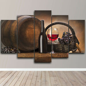 Wine Bottle Barrel Grapes 5 Piece Canvas Wall Art Kitchen Print Home Decor