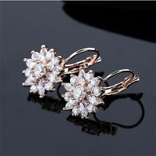 Fashion Women Snow Flower Hoop Earrings Cubic Zirconia Earings Ear Hoop Jewelry