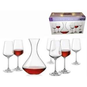 BOHEMIA CRYSTAL WINE SET SANDRA SET Of 1 CARAFE + 6 GLASSES GIFT BOXED