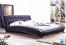 KING QUEEN BED GENUINE LEATHER BLACK WHITE CONTEMPORARY BRAND NEW