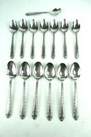 Vintage Oxford Hall Stainless Steel Rose Lot of 14 Spoons