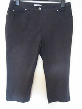RR71) WOMENS BLACK CROPPED PUNT ROMA JEANS ZIP FLY SIZE 16  INSIDE LEG 19