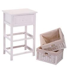 Bedroom Night Stand End Bedside Table Furniture Storage Wood w/2 Basket