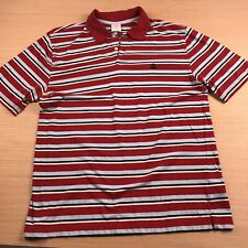 Brooks Brothers Red Striped Short Sleeve Logo Polo Shirt Men's Large 100% Cotton