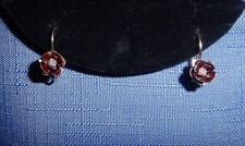 Kirks Folly Clear Aurora Borealis Crystal & Enamel Flower Earrings-Silvertone