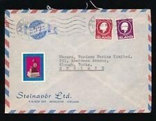 ICELAND 1961 AIRMAIL 5Kr + 50Aur + CHRISTMAS SEAL LABEL...STEINAVOR ENVELOPE