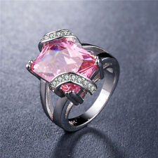 925 Silver Huge Princess Cut Pink Sapphire Gorgeous Women Wedding Ring Size 9