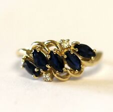 14k yellow gold .04ct SI1 H diamond sapphire ring band 3.6g estate vintage