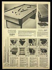 1973 Pool Table Snooker Balls Cues Table Tennis Racks Print Advertising 549A