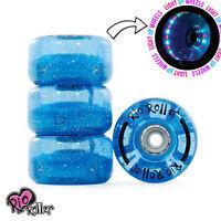 Rio Roller, Light Up Quad Roller Disco Skate Wheels, Blue Glitter