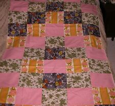 """VINTAGE 41"""" X 76"""" PATCHWORK/LINED COTTON TABLECLOTH could alter to use as duvet"""