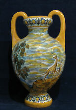 "Quimper French Faience 13"" Vase with Giraffe"