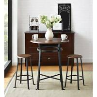 3-Piece Metal Pub Set Round Table 2-Stool w Wood Top Home Kitchen Dining Room