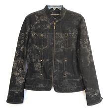 Coldwater Creek Womens Denim Jean Jacket Lightweight Black Floral Print Size 10