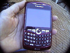 blackberry 8310 curve cell phone it works maroon  full keyboard camera extras