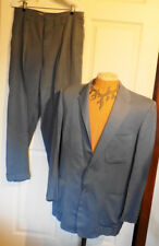 Vintage 50s Light Blue Suit Padded Shoulders C42 Hollywood Waist Pants Cuffed