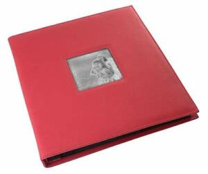 "Red Faux Leather Photo Album - Front Cover Window Frame, Max. 600 4x6"" Prints"