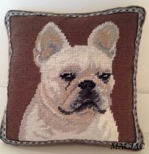 "White Frenchie Dog Needlepoint Pillow 10""x10"" NWT"