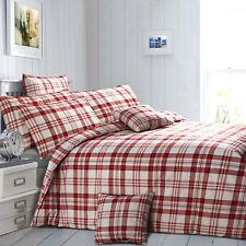 Velosso Twill Check Blue Red Checked Duvet Cover Poly Cotton Bedding Set